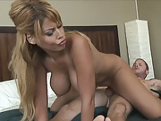 Big tits babe sucks cock and sits on cock