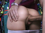 Sexy ass pulls down panties and readies for cock