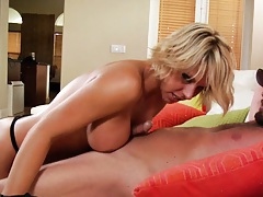Milf sucking cock with tits rubbing on balls