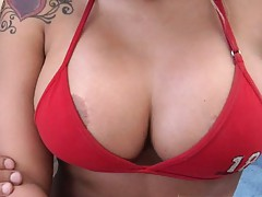 Busty Latin hottie lets us take out her boobs from bra