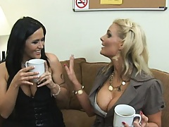 Two hot teachers are horny for some fresh college meat