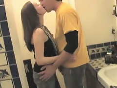 Chick takes a guy into a bathroom during a party