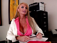 Big tits office manager is doing an interview