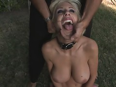 Naked blonde slut acts like a dog with a color