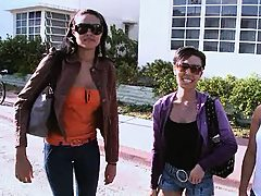 Three hot babes in a parking loto