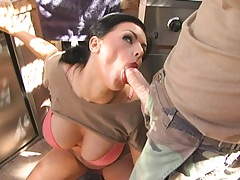 Kerry Louise shows her bra and down on her knees