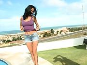 Tiffany is a hot latina babe walking around in panties