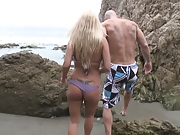 Chick goes for a swim with a guy after sex