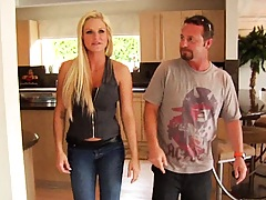 Blonde milf in tight hot jeans