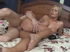 Sexy blonde skank gets sideways and doggy fucked