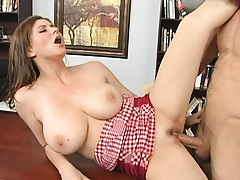Big tits Sara Stone opens her legs for her future boss