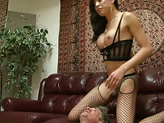 Lowering transsexual dick into mouth with anal Venus Lux