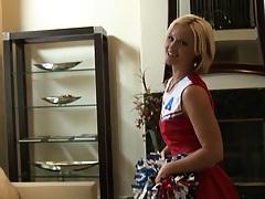 Blonde cheerleader practicing her new moves