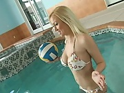 Hot babes in bikinis play some water polo