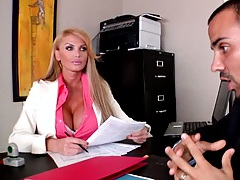Big tits chick in the office