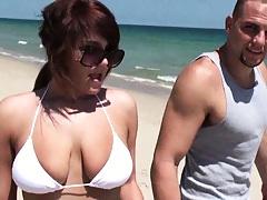Cute hottie in a white bikini with big natural tits