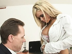 Sweet Crista shows her boss big tits to get vacation