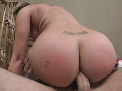 Round ass babe hangs over with tits dangling anal fuck