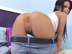 Cute teen on the casting couch in a mini skirt