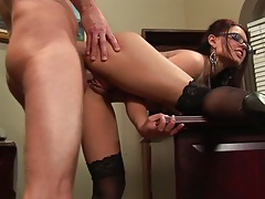 Doggy style fucking Eva Angelina on the office desk after hours