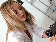 Bree Olson kneels to examine patients cock
