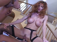 Red head Roxetta prepares for deep double penetration with ass to mouth