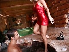 Vivien Martines seduces man with natural tits and sucks with titty fuck