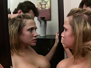 Alanah Rae licking semen off a mirror
