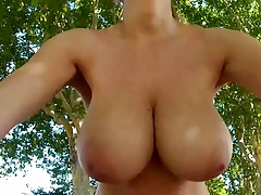 Outdoor park road naked girl goes biking Katarina Dubrova