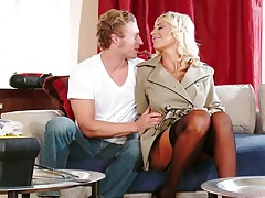 Blonde wife milf Puma Swede takes off coat to reveal her lingerie