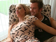 Blonde milf Nicole Aniston chats and hugs with guy