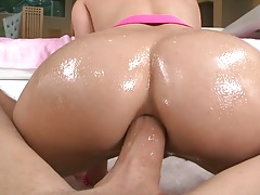 Reverse cowgirl pov with doggy style anal in oil from Casey Calvert