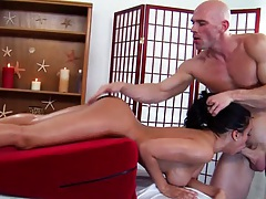 Luna Star blowjob on the massage table