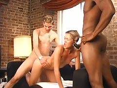 Danna gets her petite pussy fucked in threesome sex