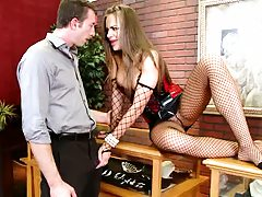 Horny brunette babe in Lingerie jerking cock