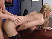 Big tits blonde slut Brooke fucked while she touches pussy