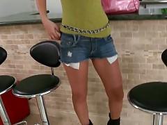 Tight ass jean shorts in cute girl