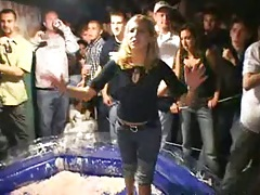 College party in Jello with girls getting wet and happy