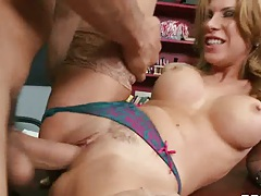 Pulled aside panties sex with Aleksa Nicole in the classroom
