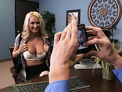 Big tits blonde Blake starting a new job at office