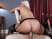 Bridgette B sits on cock and titty fuck facial