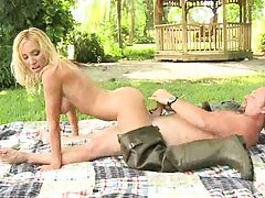 Beautiful blonde milf sitting on dick