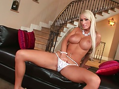 Blonde athletic Lachelle fingering own vagina in panties and takes dildo