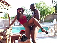 Outdoor rear entry doggy style standing up with ebony Adina Jewel