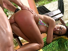 Doggy style rear entry anal with medium tits Claudia Bella outdoors