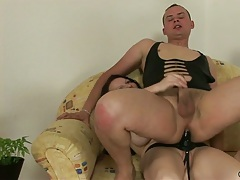 Dude gets naked anal fucked and sucks the strap on