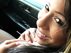 Hot milf Chloi shows tits in passenger seat