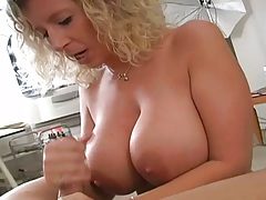 Handjob from busty Sara blonde