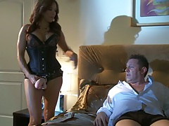Francesca Le comes to guy wearing lingerie and sucking dick