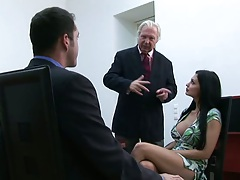 Big tits at work Aletta in the office